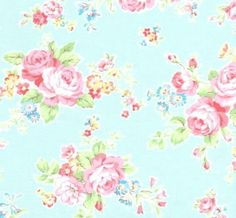 Pretty aqua blue rose fabric