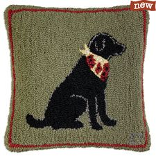 """Little Lab Black 18"""" Hooked Pillow"""