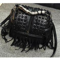 a5cc42af97 New Design Fashion Sheepskin   Pu Leather Tassel Shoulder Bags Women Casual  Punk Rock Handbags Rivets Messenger Bag Lady Totes