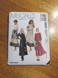 Romantic BOHO BABY Doll Dress with Box Pleated  Skirt & Funky Pockets - Size Medium (12 - 14) - UNCUT Sewing Pattern McCalls 8401