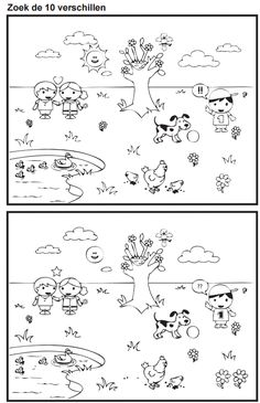 Find the 10 differences [Juf Marije] - Kinderspiele Preschool Worksheets, Kindergarten Activities, Preschool Activities, Find The Difference Pictures, Find The Differences Games, Visual Perception Activities, What Is Parenting, Hidden Pictures, Picture Puzzles