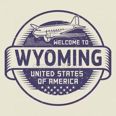 Sello recepción a Wyoming, Estados Unidos Gráficos Vectoriales. Welcomoe to Wyoming.