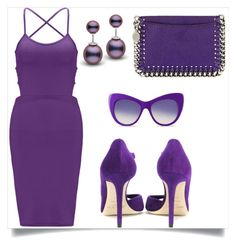 """In love with purple!"" by bubamarra ❤ liked on Polyvore featuring WithChic, Jimmy Choo and STELLA McCARTNEY"