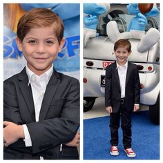 Jacob Tremblay, star of The Smurfs 2, hitting the blue carpet in his Appaman Mod Suit. How adorable is he?!  Available at http://www.appaman.com/boys/fine-tailoring/  #appaman #mod suit