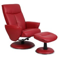 Found it at Wayfair - Bonded Leather Recliner with Ottoman in Red
