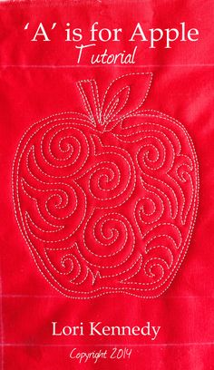 Apple Free Motion Quilt Tutorial.  Will simplify by outlining the apple, then meandering in the lines.