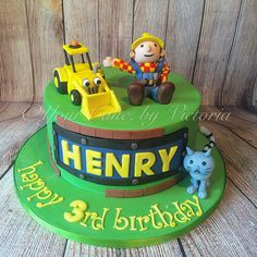 Can he fix it? Yes he can! Bob the builder cake with hand made, edible figurines!