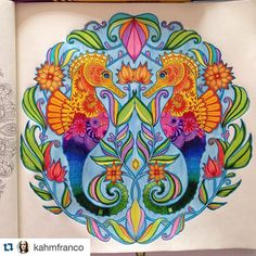 Que lindo colorido de @kahmfranco #Repost @kahmfranco with @repostapp. ・・・ Meu primeiro do Oceano Perdido! Como amo Cavalo-marinho resolvi começar por este!! Amei colorir esse!! #OceanoPerdido #lostocean #johannabasford #editorasextante #sextante #livrodecolorir #fabercastell #boracolorirtop #jardimsecreto #boanoite #livredecoloriagepouradulte #libroparacolorear #coloringbookforadults