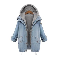 SheIn(sheinside) Hooded Drawstring Boyfriend Trends Jean Swish Pockets... ($38) ❤ liked on Polyvore featuring outerwear, coats, jackets, tops, blue, cropped coat, long sleeve coat, hooded coat, pocket coat and boyfriend coat