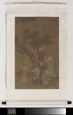 Anonymous | Rolschildering met een voorstelling van vijf jongens die dadelpruimen plukken, Anonymous, 1500 - 1625 | Rolschildering met een voorstelling van vijf jongens die dadelpruimen plukken. Vrije kopie naar een anoniem werk uit de Song-periode in het Paleismuseum te Taipei.