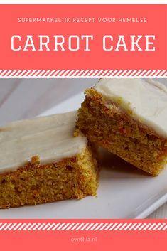 Recept voor supermakkelijke Carrot Cake of worteltjestaart Carrot Cake, Banana Bread, Carrots, Pie, Yummy Food, Cookies, Baking, Desserts, Brownies