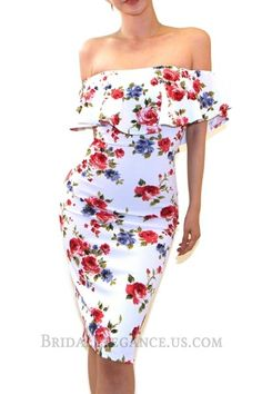 $17.00 - Straight, ruffled neckline and off-shoulder sleeves. Fully rose floral print.