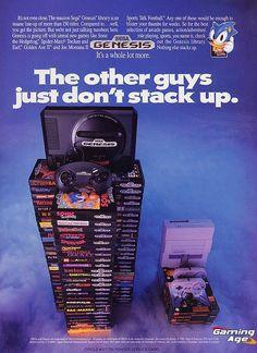 Mega Drive console (US, Sega, Comparison ad with the Super Nintendo. Vintage Video Games, Retro Video Games, Vintage Games, Retro Games, Retro Vintage, Sega Genesis, Videogames, Playstation, Consoles