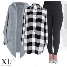 c97ca44e5 Długa koszula-tunika w biało-czarną kratę - SHEILA. Zimowa stylizacja z  długa koszulą damską. Moda plus size ...