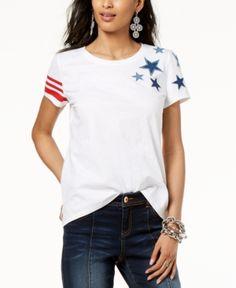 541ad778cfa INC International Concepts I.n.c. Cotton Star-Patch Striped-Print T-Shirt
