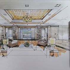 #sketchdesign #living #interiordesign #watercolor