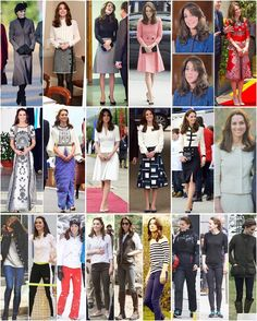 And finally, the rest of Kate's outfits worn this year are made up of skirts and matching sets (first and second row) and pants/jeans (bottom row). Check the last two posts for all her dresses and coats