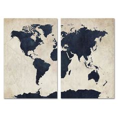 Grey Printable World Map Distressed Vintage Texture Map Print - Black and white vintage world map