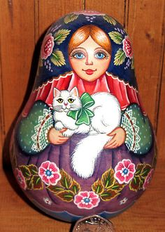 Russian UNIQUE MATT wobbly DOLL Rolly Polly Babushka White Cat hand painted GIFT | eBay