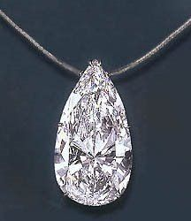 This stone is a 75-carat, pear-shaped diamond estimated to be worth 5 million dollars.