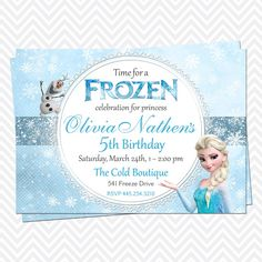 Disney Frozen Birthday Party Invitation Kids by RoyaltyInvitations