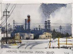 "Michael Broshar on Instagram: ""Cherokee Generating Station, Denver. #Sketch from a foggy, grey day. Painting to follow...."" Cherokee, Denver, Sketch, Industrial, Snow, Grey, Painting, Outdoor, Instagram"