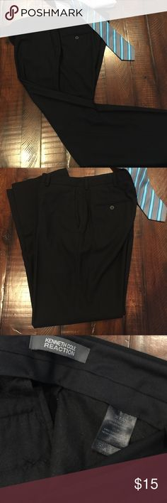 Excellent condition Men's black dress slacks Excellent condition Kenneth Cole black flat front dress slacks, no stains, no rips, Drycleaned and ready for a new home. 65% polyester & 35% rayon. Size 36W 32L Kenneth Cole Reaction Pants Dress