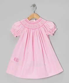 Oh goodness....my three favorite things combined into one (monogrammed smocked dress).  Must. Resist.  Take a look at this Pink Monogram Bishop Dress - Infant & Toddler by Monogrammables by Rosalina on #zulily today!