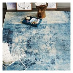 West Elm West Elm Distressed Rococo Wool Rug, Blue Lagoon, 5'x8' -... ($479) ❤ liked on Polyvore featuring home, rugs, blue, handmade rugs, handmade wool rugs, blue wool area rugs, hand woven wool rugs and wool rugs