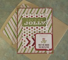 LET'S BE JOLLY Christmas Card - Stampin Up Season of Style Journaling Tags & Lined Envelope