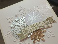 Debbie's Designs: Embossed Acetate Card Box & Card Ensemble! using Stampin' Up! Acetate Card Boxes, Foil Snowflakes, Year Of Cheer DSP, Champagne Foil Sheets and Winter Wonder Embossing Folder. Did you know the Acetate Card Boxes can be embossed? Debbie Henderson #acetatecardboxes #yearofcheer #champage #foilsnowflakes #winterwonder #debbiehenderson #debbiesdesigns