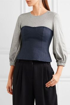 Tibi - Paneled Cotton-jersey And Linen Top - Gray - US2