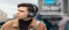 Anker Soundcore Life Q20 headphones include 40mm dynamic drivers to provides good audio quality and support hi-res audio as well. Tab to read. Noise Cancelling Headphones, Bluetooth Headphones, Headphone Amp, Dolby Atmos, Sweat Proof, Sonos, Audio, Gadget News, Anchors