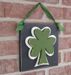 HANGING CLOVER or SHAMROCK with ribbon for 2015 st. patricks Day, wall, door hanger, and  home decor
