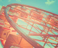 Ferris Wheel Photo, shabby chic nursery decor, carnival print, fair, peach, aqua blue, vintage circus print, dreamy photo, fPOE