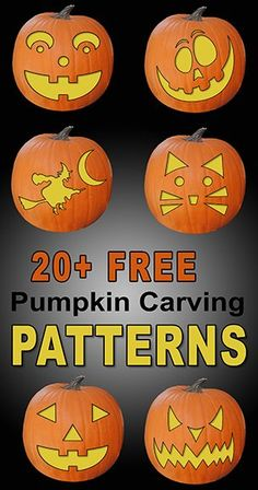 FREE pumpkin carving stencils patterns templates and designs. Use these printable pumpkin carving patterns for marking a pumpkin (Jack O Lantern) Halloween decorations costumes. Printable Pumpkin Carving Patterns, Printable Pumpkin Stencils, Scary Pumpkin Carving, Halloween Pumpkin Carving Stencils, Halloween Pumpkins, Halloween Halloween, Halloween Labels, Vintage Halloween, Halloween Makeup