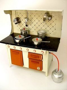 Vintage Toy Stove w/Gas Cylinder