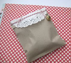 Christmas Gift Wrap Set - Natural Gift Tag Bakers Twine Doilies and Christmas bells Parcels with love