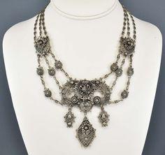 Etruscan Art Deco Necklace Silver Filigree Chain by boylerpf