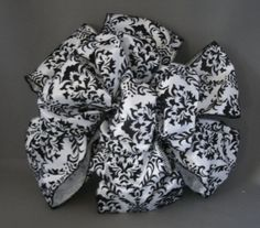 Black & White Damask Print Bow