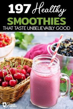 197 Healthy Smoothies That Taste Good You won't believe these smoothie recipes are both healthy and extremely tasty. In fact, they taste so good, you could even replace your dessert with them. Healthy Fruit Smoothies, Kiwi Smoothie, Best Smoothie Recipes, Smoothie Prep, Raspberry Smoothie, Good Smoothies, Healthy Fruits, Get Healthy, Smoothie Cleanse