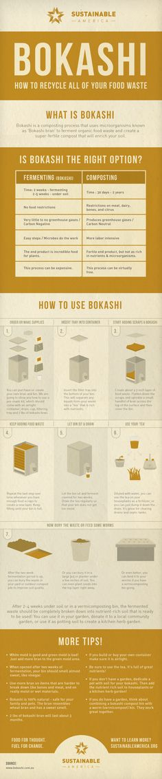 Learn how to #compost the #Bokashi way with this handy infographic from www.sustainableamerica.org (I'm a bit skeptical)