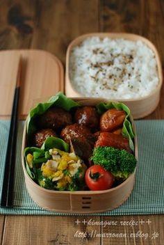 煮込みミニハンバーグ弁当 : ごはんの時間 ++annex++ Japanese Food Sushi, Japanese Bento Box, Bento Box Lunch, Aesthetic Food, Lunch Recipes, Food Dishes, Asian Recipes, Kids Meals, Bento Ideas