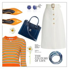 """""""The colours of life"""" by frenchfriesblackmg ❤ liked on Polyvore featuring Courrèges, Bella Freud, Chanel and Effy Jewelry"""
