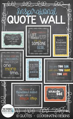 Create a stylish quote wall with a Trendy Chalkboard theme Choose from several coordinated versions of 10 favorite inspirational quotes Arrangement ideas included Diy Classroom Decorations, School Decorations, Class Decoration, Wall Decorations, Classroom Design, Classroom Organization, School Counselor Organization, English Classroom Decor, School Counselor Office