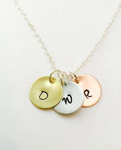 Initial Necklace, Personalized Initial Necklace, Mixed Metal Necklace, Hand Stamped Initial Necklace, Monogram Necklace