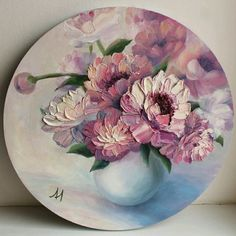 Circle Painting, Acrylic Painting Flowers, Acrylic Art, Flower Paintings On Canvas, Peony Painting, Tree Paintings, Knife Painting, Easy Canvas Art, Mini Canvas Art