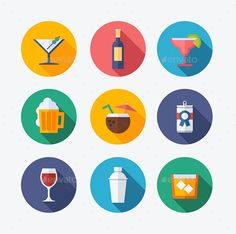 Cocktail Flat Icons   #flatcons #cocktailicons #icons   Download: http://graphicriver.net/item/cocktail-flat-icons/10361217?ref=ksioks