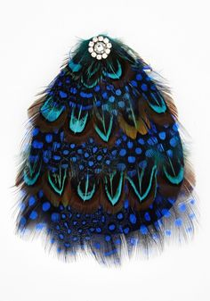 Fantasy What I Mean? Hair Pin - Blue, Feathers, Darling, Animal Print, Rhinestones, Special Occasion, Party, Vintage Inspired