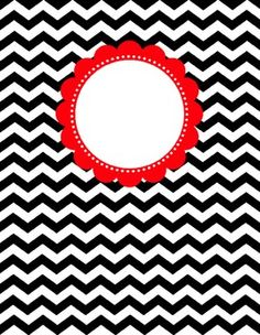 Binder Cover - Black & White Chevron with Customizable Label
